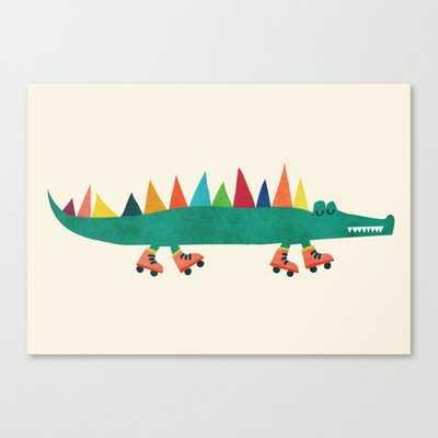 """Crocodile on Roller Skates Canvas Print - 24"""" x 17"""" - Unframed - Society6"""