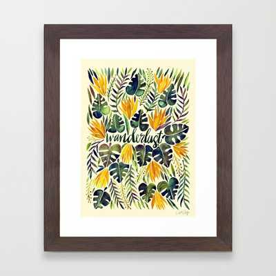 "Tropical Wanderlust – Orange & Emerald - 10"" x 12"" - Conservation Walnut Frame - Society6"