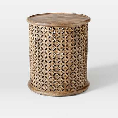 Carved Wood Side Table - Raw Mango, Large - West Elm