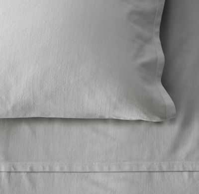 Garment-Dyed Vintage Cotton Fitted Sheet -Grey-Full - RH Teen