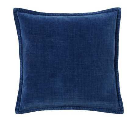 "Washed Velvet Pillow Cover 20"", Indigo - Insert Sold Separately - Pottery Barn"