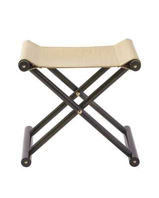 Cooper Leather Stool - Ebony Finish - Serena and Lily