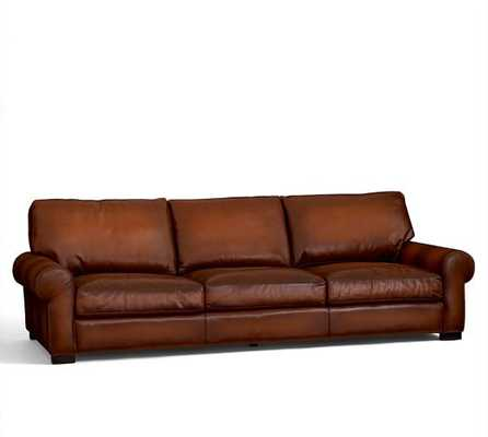 Turner Roll Arm Leather Sofa - Grand, Leather, Saddle - Pottery Barn