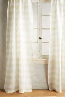 "Averill Striped Curtain - Ivory - 63""L - Anthropologie"