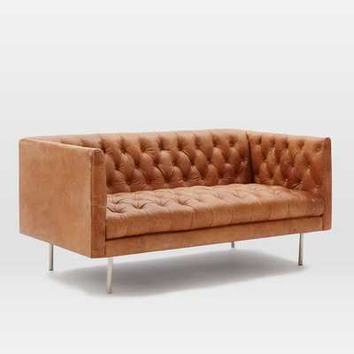 Modern Chesterfield Leather Loveseat - West Elm