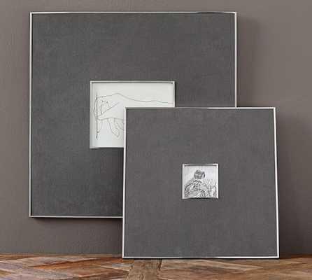 """Gray Linen & Silver Frames - 4"""" x 4"""", Gray - Pottery Barn"""