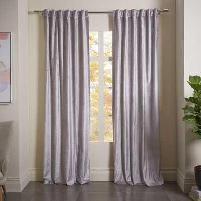 "Luster Velvet Metallic Diamond Printed Curtain - Silver - 108"" - West Elm"