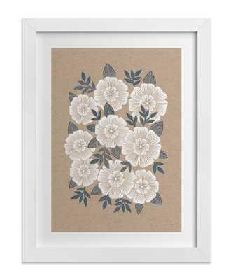 "Kraft Florals- 16"" x 20""- White wood frame - Domino"