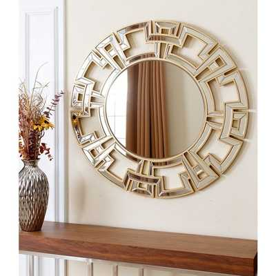 ABBYSON LIVING Pierre Gold Round Wall Mirror - Overstock