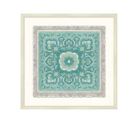 "Claire Framed Printsaire -Teal -22"" square - Pottery Barn"