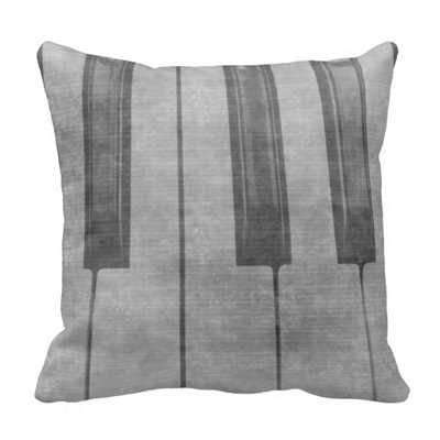 Grunge piano keyboard muted throw pillow - 16x16, With Insert - zazzle.com