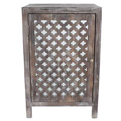 Distressed Grey Quatrefoil End Table with Mirror Accent - Overstock
