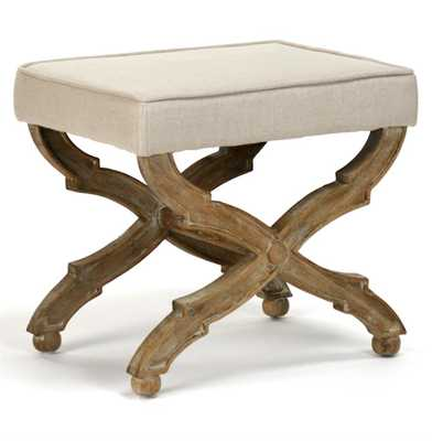 French Country Limed Grey Oak Ottoman - Kathy Kuo Home