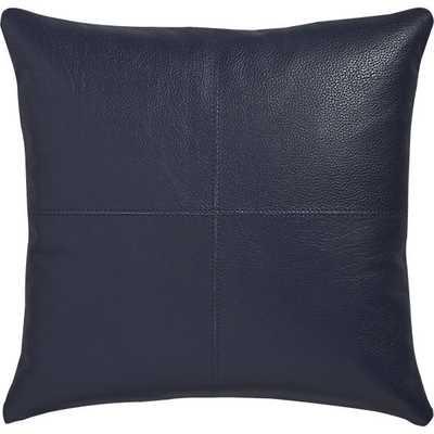 "Mac leather 16"" pillow- Navy, Down Insert - CB2"