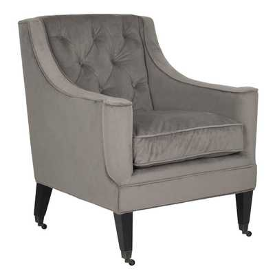Safavieh Sherman Mushroom Taupe Cotton Fabric Arm Chair - Overstock