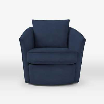 Duffield Swivel Chair - Performance Velvet, Ink Blue - West Elm