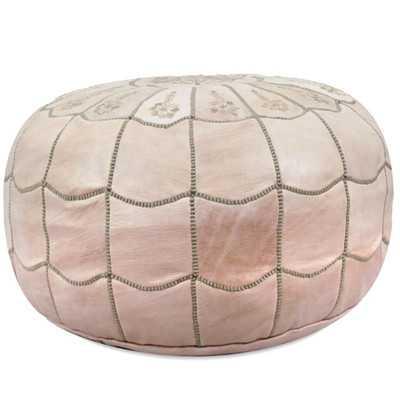 Sahraoui Scalloped Leather Pouf Ottoman - Natural - Wayfair