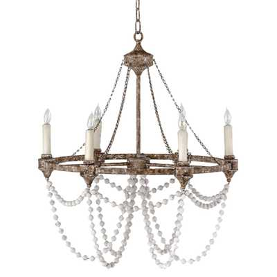 Auvergne French Country Rustic Iron White Bead Chandelier - Kathy Kuo Home