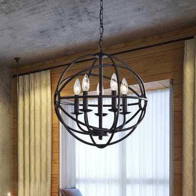 Benita 5-light Antique Black Metal Strap Globe Chandelier - Overstock