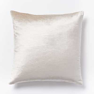 """Cotton Luster Velvet Pillow Cover - Stone (20"""") - Without insert - West Elm"""