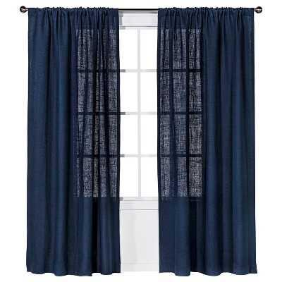 "Nate Berkusâ""¢ Burlap Curtain Panel-Navy blue-95"" - Target"