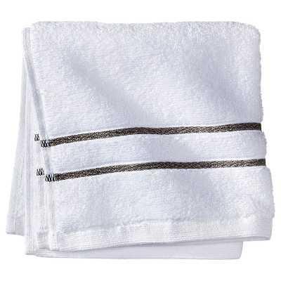 Fieldcrest® Luxury Stripe Accent Bath Towels-White/Gray-Bath Towel - Target