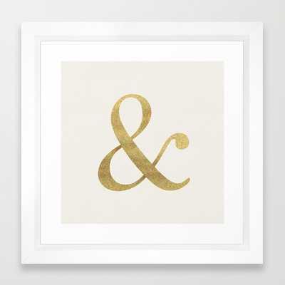 """Gold Glitter Ampersand - 12"""" x 12"""" - Vector White Frame - Society6"""