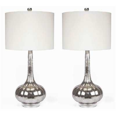 "Michelle Antiqued 28"" H Table Lamp with Drum Shade - Set of 2 - Wayfair"