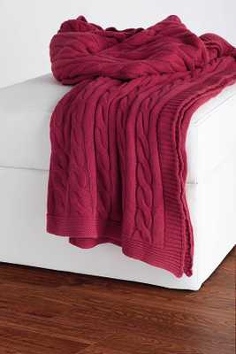 CABLE KNIT DECORATIVE THROW  - Red - Home Decorators