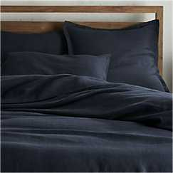Lino II Dark Grey Linen Full/Queen Duvet Cover - Crate and Barrel