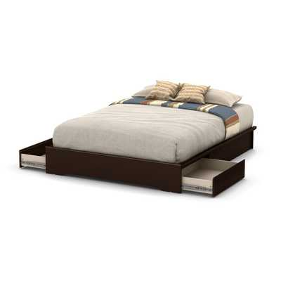 South Shore Basic Pure White Queen Platform Bed with 2 Drawers - Chocolate - Overstock