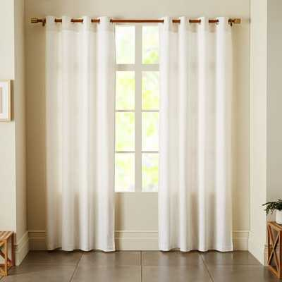 """Opaque Linen Curtain With Grommets, 96"""", White - West Elm"""