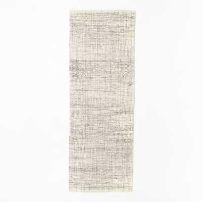 Mid-Century Heathered Basketweave Wool Rug - 2.5'x7' - West Elm