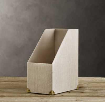 LINEN MAGAZINE BOX SAND - RH