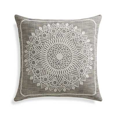 """Padilla 23"""" Tonal grey Pillow with Feather-Down Insert - Crate and Barrel"""