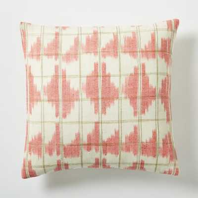 "Ikat Grid Pillow Cover - Poppy - 16""sq. - Insert Sold Separately - West Elm"