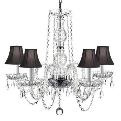 Venetian Style All Crystal 5 Light Chandelier with Black Shades - Overstock