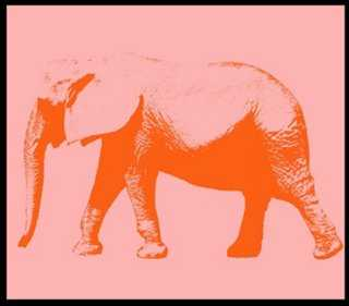 "Pink Elephant-22"" x 24""-Framed - One Kings Lane"