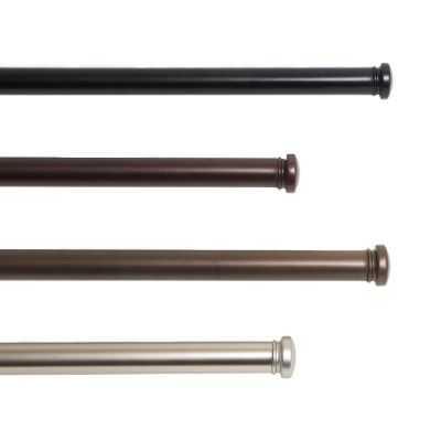 Adjustable Window Hardware with Simple Cap Finial - Large/ Black - Loom Decor