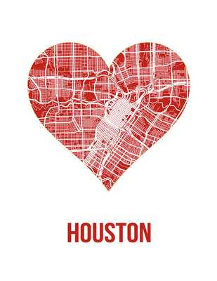 Houston heart map print - 4x5 - Unframed - Etsy
