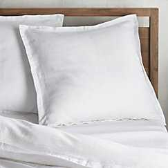 Set of 2 Lino II White Linen Standard Pillow Cases - Crate and Barrel
