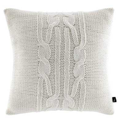 "Nautica Seaward Ivory Cable Knit Decorative Pillow - 16"" - Polyester Insert - Overstock"