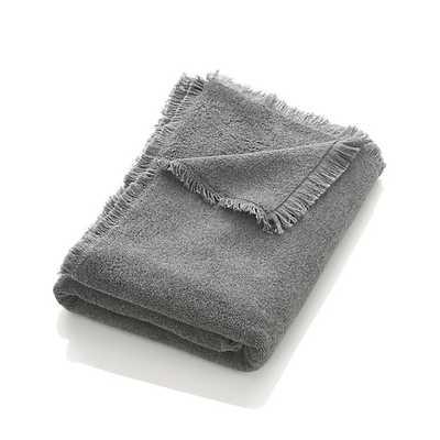 Fringe Grey Bath Towel - Crate and Barrel