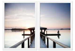 "Bluffton, South Carolina Pier Diptych -36"" x 25""-Framed - One Kings Lane"