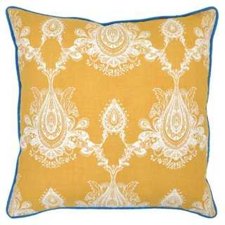 Margot 22x22 Cotton-Blend Pillow, Gold-Feather insert - One Kings Lane