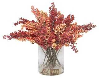 """34"""" Red Berries in Vase, Faux - One Kings Lane"""