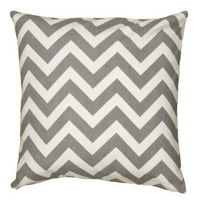 "Chevron Cotton Throw Pillow - 18"" x 8""- Gray With Fill - AllModern"