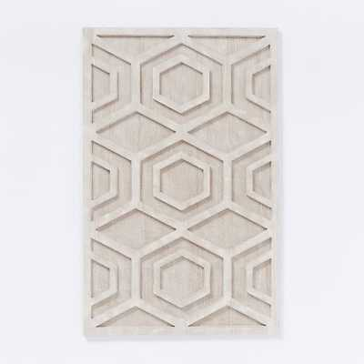 Whitewashed Wood Wall Art - Hexagon, Individual - West Elm