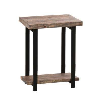 Pomona Reclaimed Wood/Metal End Table - Wayfair