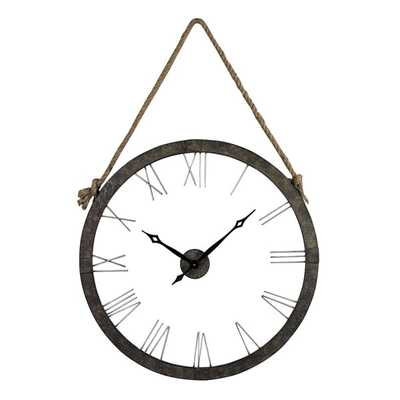 Metal Wall Clock Hung On Rope - Overstock
